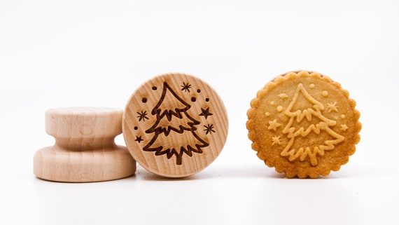 No. 046 Wooden stamp deeply engraved Merry Christmas, Christmas gift, Wooden Toys, Stamp, Baking Gift, Christmas tree