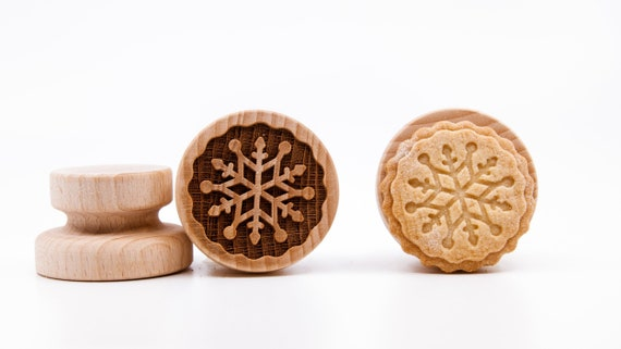 No. 064 Wooden stamp deeply engraved Snowflake, Merry Christmas, Christmas gift, Wooden Toys, Stamp, Baking Gift, Christmas tree