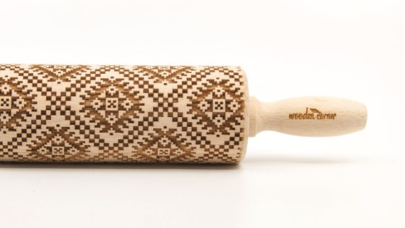 NORWEGIAN PATTERN 5 - Embossing Rolling pin, engraved rolling pin (no. 273)