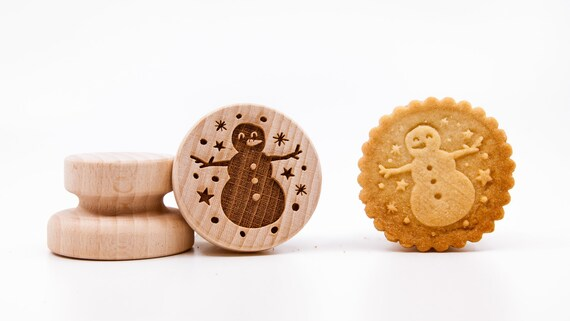 No. 058 Wooden stamp deeply engraved Snowman, Merry Christmas, Christmas gift, Wooden Toys, Stamp, Baking Gift, Christmas tree