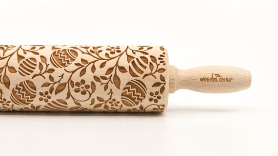 EASTER EGG FLOWERS - Embossing Rolling pin, engraved rolling pin (no. 321)