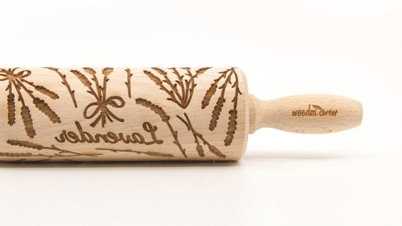 LAVENDER - Embossing Rolling pin, engraved rolling pin (no. 326)