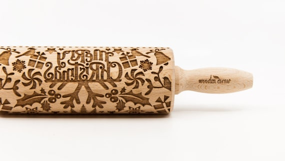 MERRY CHRISTMAS 2, Rolling Pin, Engraved Rolling, Rolling Pin, Embossed rolling pin, Wooden Rolling pin