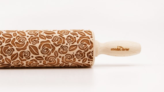 No. R015 Roses flower pattern Wooden rolling pin Roller Engraved Mother Wife  Sister Daghter Girlfrien gift Housewarming gift