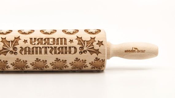 MERRY CHRISTMAS 3 - Embossing Rolling pin, engraved rolling pin (no. 229)