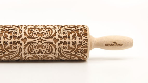 ORNAMENTAL FLOWERS - Embossing Rolling pin, engraved rolling pin (no. 141)