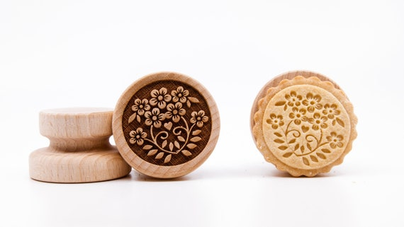 No. 047 Wooden stamp deeply engraved Flowers, Christmas gift, Wooden Toys, Stamp, Baking Gift, Christmas tree