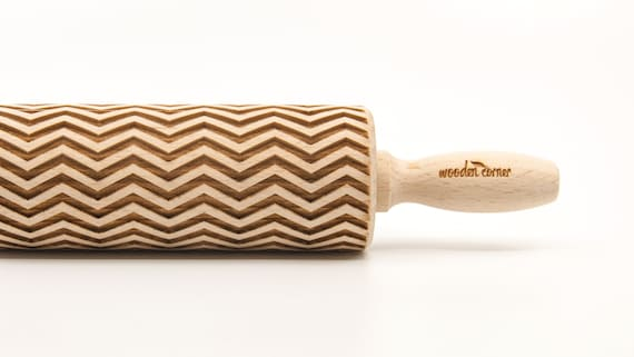 ZIG ZAG -  - laser engraved rolling pin, embossing rolling pin