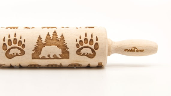 WILD BEAR 2 - Embossing Rolling pin, engraved rolling pin (no. 344)