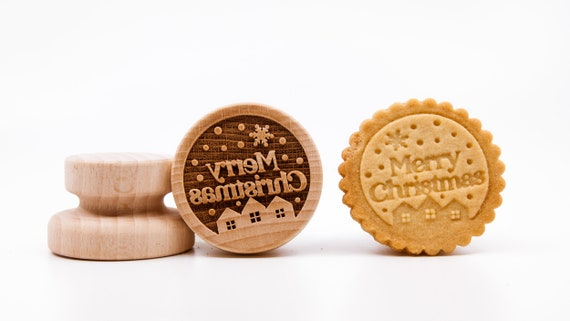 No. 033 Wooden stamp deeply engraved Merry Christmas, Christmas gift, Wooden Toys, Stamp, Baking Gift, Christmas tree