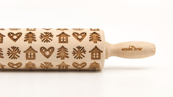 LITTLE WINTER HOUSES - Embossing Rolling pin, engraved rolling pin (no. 310)