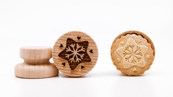 No. 062 Wooden stamp deeply engraved Snowflake, Merry Christmas, Christmas gift, Wooden Toys, Stamp, Baking Gift, Christmas tree
