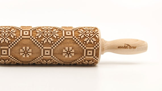 NORWEGIAN PATTERN 4 - Embossing Rolling pin, engraved rolling pin (no. 272)