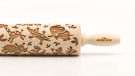 ZOO AFRICA - Embossing Rolling pin, engraved rolling pin (no. 332)