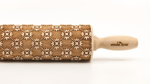 ORNAMENT SQUARES - Embossing Rolling pin, engraved rolling pin (no. 291)
