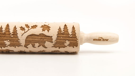 WILD BEAR 1 - Embossing Rolling pin, engraved rolling pin (no. 343)
