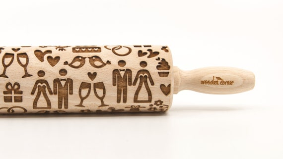 WEDDING DAY - Embossing Rolling pin, engraved rolling pin (no. 325)