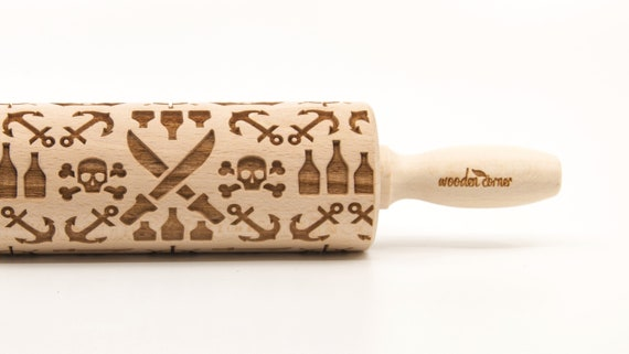PIRATES - Embossing Rolling pin, engraved rolling pin (no. 335)
