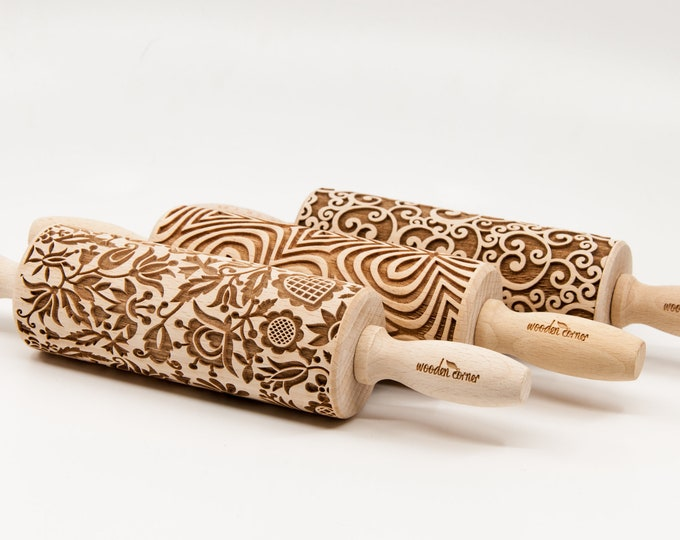 Featured listing image: SMALL Rolling Pins SET, YOU choose 3 of all our patterns, Nudelholz, Rouleau à pâtisseriem, Mattarello, Kjevle, Kaulin, Deegroller Teigrolle