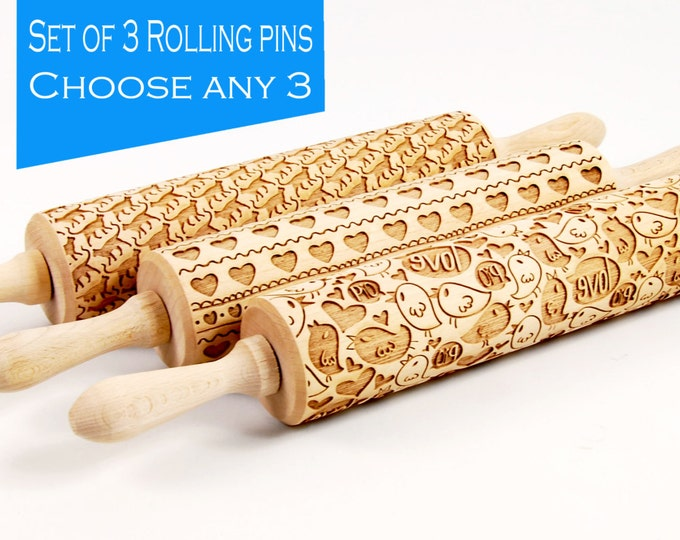 Featured listing image: BIG Rolling Pins SET, YOU choose 3 of all our patterns, Nudelholz, Rouleau à pâtisseriem, Mattarello, Kjevle, Kaulin, Deegroller, Teigrolle