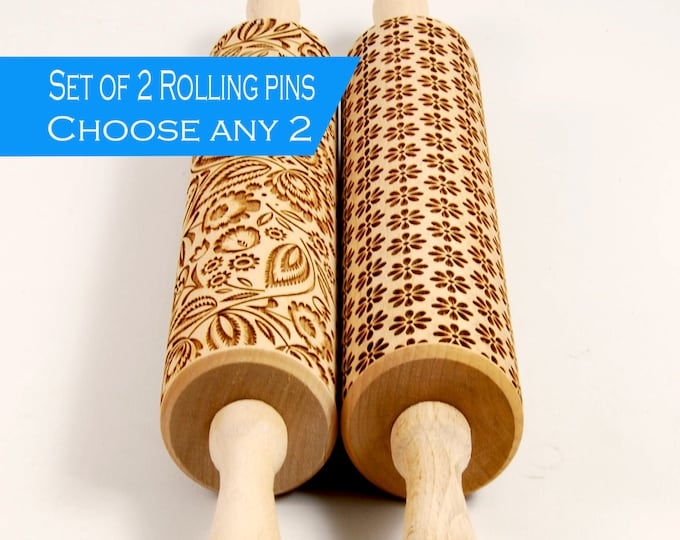 Featured listing image: Choose any 2 patterns from my store - Set of two big embossed rolling pin