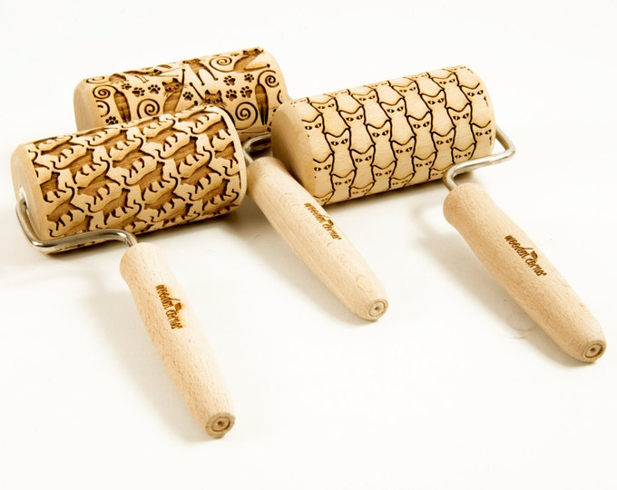 Featured listing image: CHOOSE ANY 3 of all our patterns - Set of 3 One handle or MIDI rolling pins