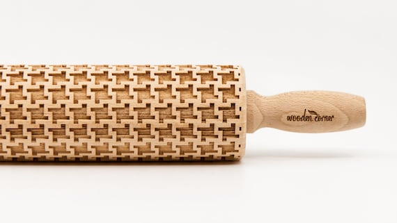 HOUNDSTOOTH, Rolling Pin, Embossed rolling pin, Wooden roller engraved, Embossing Cookies, Wooden Toys,Stamp, Baking Gift, Birthday