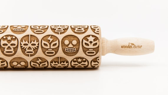 LUCHA LIBRE MASK pattern, Rolling Pin, Engraved Rolling, Rolling Pin, Embossed rolling pin, Wooden Rolling pin