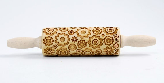 Wonderful years of the 70th, Flower MINI revolution, MINI Embossing Rolling pin , engraved rolling pin