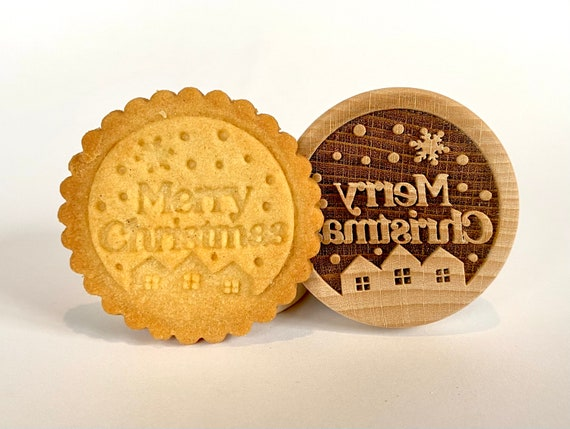 "No. 033 Wooden stamp deeply engraved ""Merry Christmas"""
