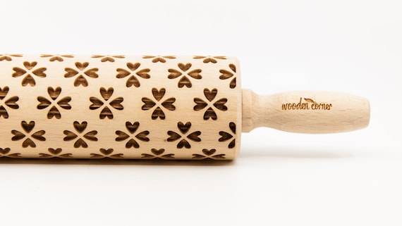 FLOWER HEARTS - Rolling Pin, Engraved Rolling Pin, Rolling Pin, Embossed Cookies, Wooden rolling pin, nudelholz