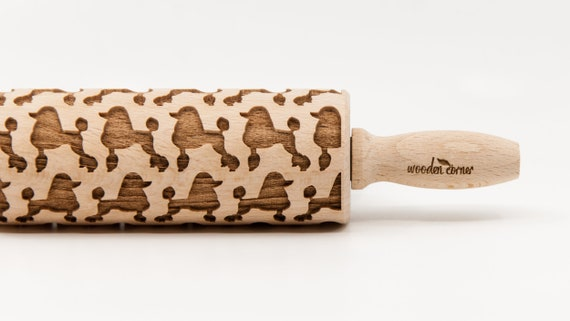 POODLE pattern, Rolling Pin, Engraved Rolling Pin, Embossed Rolling Pin, Wooden Rolling pin