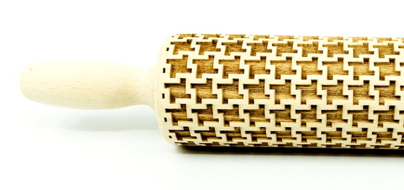 Geometric 6, Rolling Pin, Embossed rolling pin, Wooden roller engraved, Embossing Cookies, Wooden Toys,Stamp, Baking Gift, Birthday