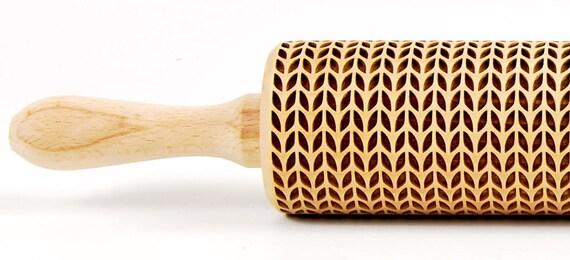 Weave wool laser engraved rolling pin, embossing rolling pin