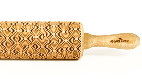 Abstract Circles Rolling Pin, Engraved Rolling Pin, Embossed Rolling Pin, Wooden Rolling pin