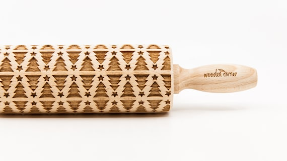 CHRISTMAS TREE pattern - Rolling Pin Engraved Rolling Pin, Embossed Cookies, Wooden Rolling pin, Kids' toys