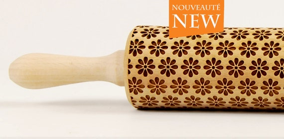 Spring full of flowers, Embossing rolling pin, Engraved Rolling Pin, Embossed Rolling Pin, Wooden Rolling pin
