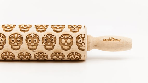 SUGAR SKULL 2 - Rolling Pin, Embossed rolling pin, Wooden roller engraved, Embossing Cookies, Wooden Toys,Stamp, Baking Gift, Birthday