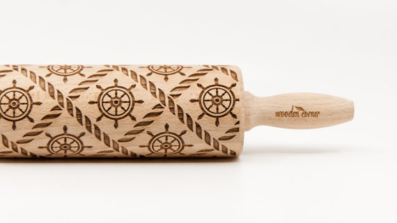 MARINE SAILOR Rolling Pin, Sea, Engraved Rolling Pin, Gift Rolling Pin, Embossed Rolling Pin, Wooden Rolling pin