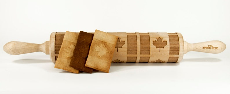 Wooden Rolling pin Engraved Rolling Pin Embossed Rolling Pin Canada Flag Embossing rolling pin