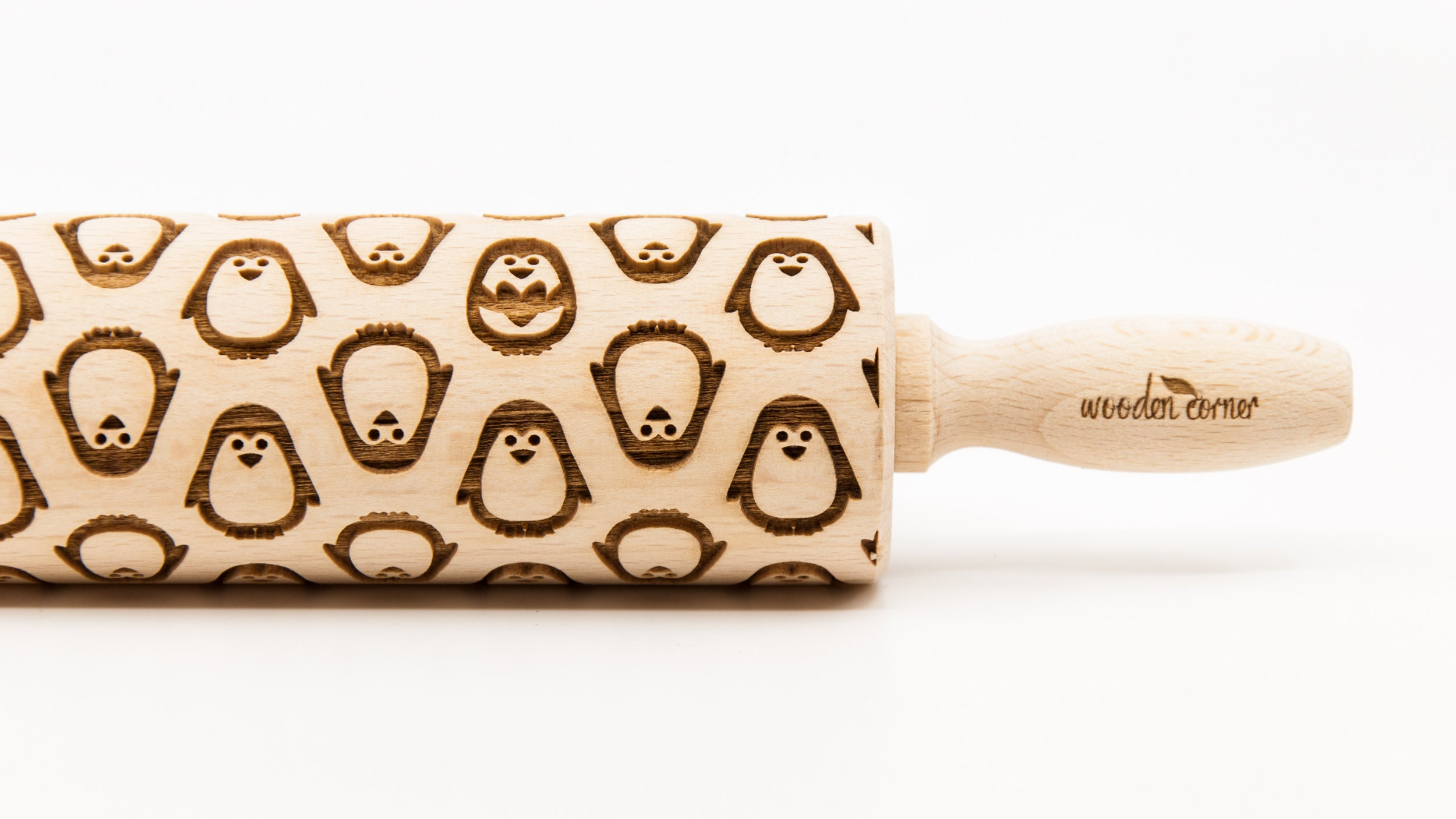 Toy Decorative Roller Wooden roller engraved Small rolling pin Laser Engraved Rolling Pin Embossing  Rolling Pin for Cookies Penguins