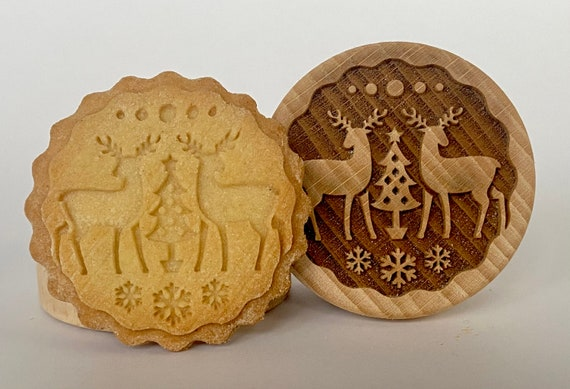 No. 063 Wooden stamp deeply engraved Reindeers, Snowflake, Merry Christmas, Christmas gift, Wooden Toys, Stamp, Baking Gift, Christmas tree