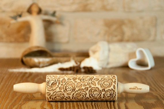 Shabby chic VINTAGE ROSES MIDI Rolling Pin, Engraved Rolling Pin, Embossed Rolling Pin Rolling, Wooden Rolling pin