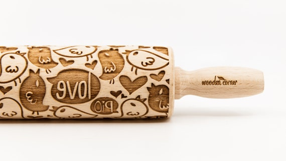 LOVE BIRDS - embossing rolling pin, laser engraved rolling pin.
