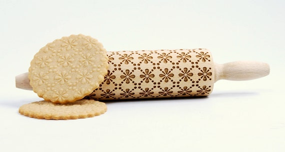 Floral pattern - MIDI Rolling Pin Engraved Rolling Pin Gift Rolling Pin Rolling PiN for Embossed Cookies Wooden Rolling pin