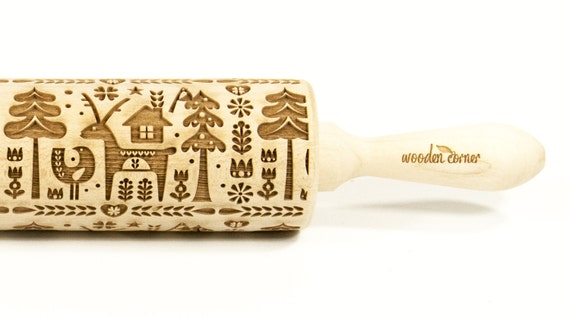 North land 3, Christmas BIG size Rolling Pin, Engraved Rolling, Rolling Pin, Embossed rolling pin, Wooden Rolling pin