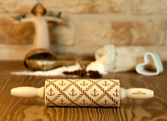 Sailor II MIDI Marine Rolling Pin, Sea, Engraved Rolling Pin, Gift Rolling Pin, Embossed Rolling Pin, Wooden Rolling pin