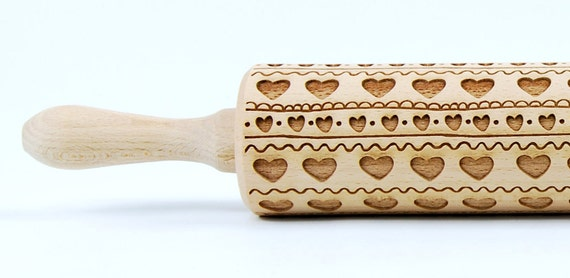FOLK HEART PATTERN -  Embossing rolling pin, engraved rolling pin