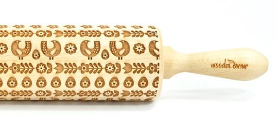 Scandinavian hens - Big size Rolling Pin, Engraved Rolling Pin, Rolling Pin, Embossed Cookies, nudelholz