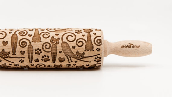 CATS 5 -  Embossing rolling pin Engraved rolling pin Funny cats